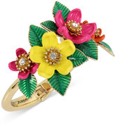 Betsey Johnson Gold-Tone Multicolor Floral Hinged Bangle Bracelet