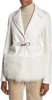 Gabriela Hearst Shelby Fur-Trim Hook-Front Coat
