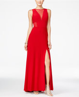 Morgan & Company Juniors' Illusion Front-Slit A-Line Gown