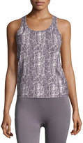 Yummie Tummie Cut-Out Crackle-Print Performance Tank Top, Cream/Shark