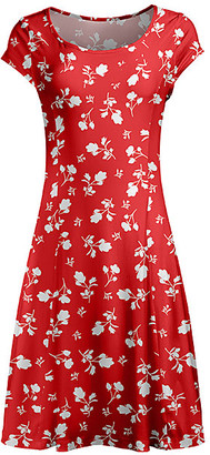 Lily Women's Casual Dresses RED - Red & White Floral Scoop Neck Cap-Sleeve Dress - Women & Plus
