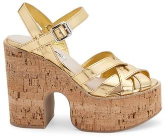 Miu Miu Woven Metallic Leather Platform Sandals