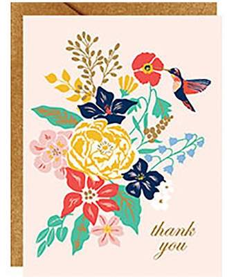 Waste Not Paper Thank You Card Set Hummingbird Floral
