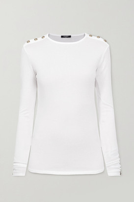 Balmain Button-embellished Stretch-jersey Top - White