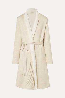 Eberjey Alpine Chic Slub Modal-jersey And Faux Shearling Robe - Cream