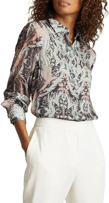 Reiss Paisley Mix Media Long Sleeve Blouse
