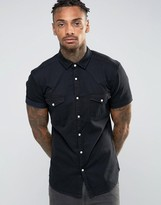Asos Skinny Western Denim Shirt In Black