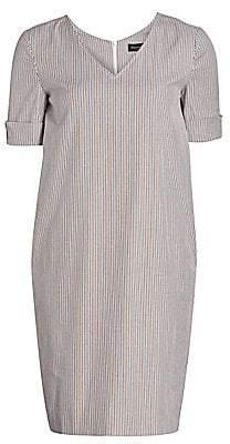 Piazza Sempione Women's V-neck Striped Shift Dress