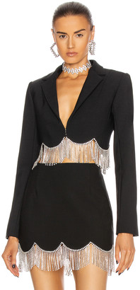 Area Scalloped Crystal Hem Cropped Blazer in Black & Clear | FWRD