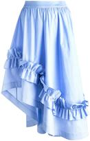 Cédric Charlier gathered waist ruffled skirt - women - Cotton/other fibers - 42