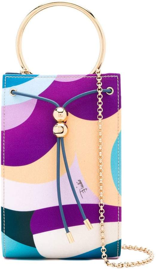 Emilio Pucci metallic handle clutch bag