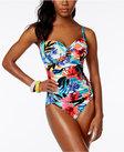 swim solutions la belle floralprint shirred tummycontrol onepiece swimsuit