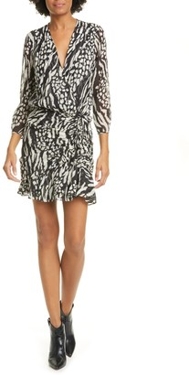 Veronica Beard Kiran Mixed Animal Print Silk Mini Dress