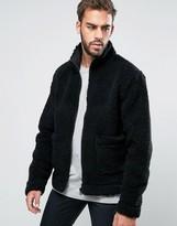 Weekday Wesley Zip Through Fluffy Borg Jacket