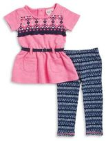 Little Lass Baby Girl's Belted Tunic and Leggings Set