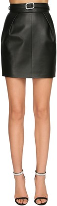 Alexandre Vauthier Belted Leather Mini Skirt