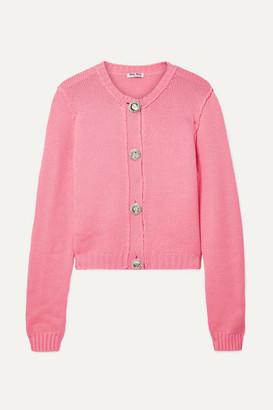 Miu Miu Crystal-embellished Cashmere Cardigan - Pink