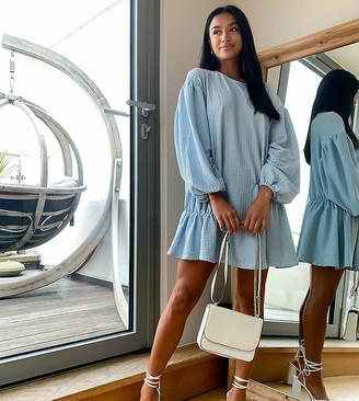 ASOS DESIGN Petite oversized seam front detail mini dress in dusty blue