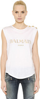 Balmain Logo Cotton Jersey Sleeveless Top