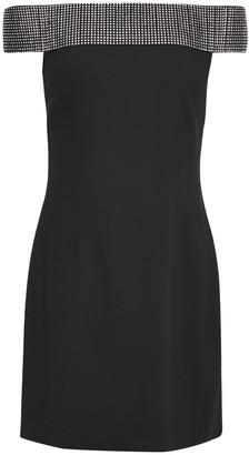 Christopher Kane Off-the-shoulder Crystal-embellished Twill Mini Dress