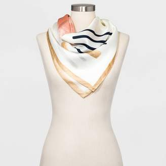 A New Day Women's Large Square Geo Print Silk Scarf Cream One Size