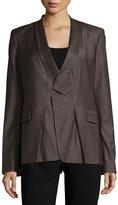 Halston Long-Sleeve Slim-Fit Blazer, Heathered Earth