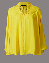 Autograph Pleated V-Neck Long Sleeve Blouse