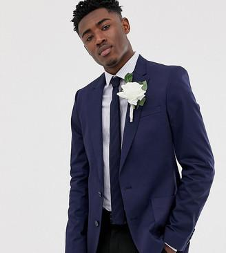 ASOS DESIGN Tall wedding skinny blazer in navy cotton