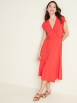 Wrap-Front Dolman-Sleeve Midi Dress for Women