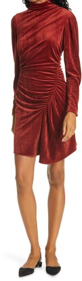 A.L.C. Marcel Long Sleeve Ruched Velvet Minidress