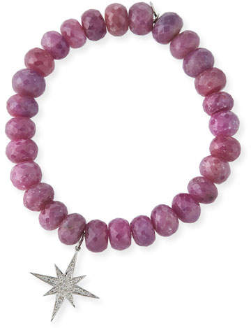 Sydney Evan 9mm Pink Sapphire Beaded Bracelet with Diamond Starburst Charm