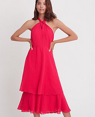 Ann Taylor Shadow Plaid Tiered Halter Maxi Dress