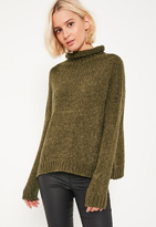 Missguided Khaki Cozy Funnel Neck Boucle Sweater