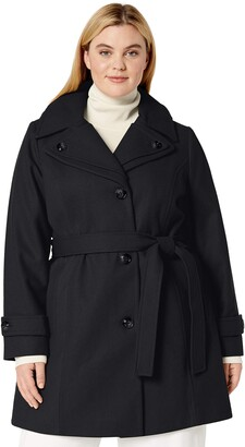 London Fog Women's Plus Size Double Lapel Thigh Length Button Frontwool Coat with Belt