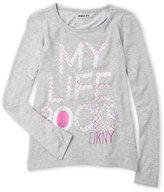 DKNY Girls 7-16) My Life Rocks Long Sleeve Tee