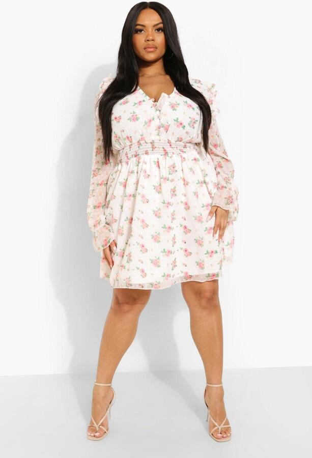 boohoo Plus Floral Dobby Skater Dress