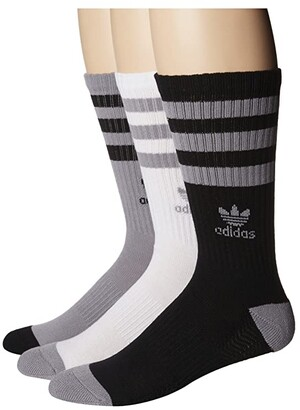 adidas Originals Roller Crew Sock 3-Pack (White/Black/Heather Grey) Men's Crew Cut Socks Shoes