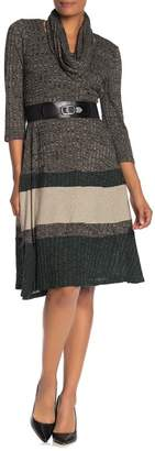 Robbie Bee Belted Colorblock Sweater Dress