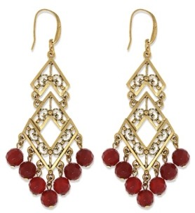 T.r.u. by 1928 14 K Gold Semi-Precious Carnelian Chevron Chandelier Earring