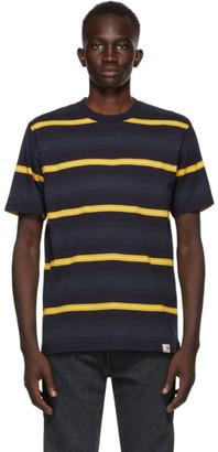 Carhartt Work In Progress Navy and Yellow Stripe Buren T-Shirt