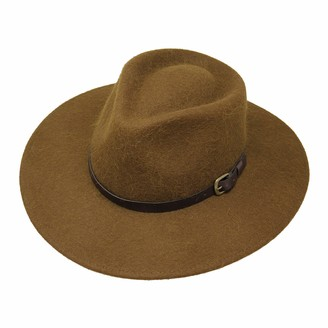 Borges & Scott Premium Alpaca Lewis - Wide Brim Fedora Hat - Alpaca Wool Felt - Water Resistant - Leather Band - Brown 60cm