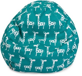 Majestic Home Goods Indoor Turquoise Stretch Classic Bean Bag Chair 28 in L x 28 in W x 22 in H