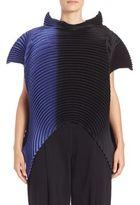 Issey Miyake Saturn Pleats Stand Collar blouse