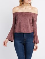 Charlotte Russe Faux Suede Off-The-Shoulder Bell Sleeve Top