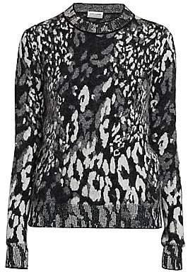 Saint Laurent Women's Leopard-Print Jacquard Sweater