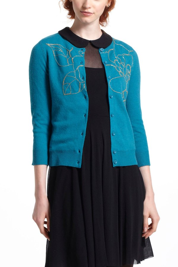 Anthropologie Gilt Floribunda Cardi