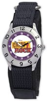 Disney Kids' D796S500 Camp Rock Time Teacher Black Velcro Strap Watch