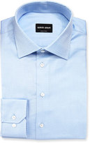 Giorgio Armani Textured Solid Long-Sleeve Dress Shirt, Light Blue