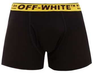 Off-White Logo-jacquard Cotton-blend Boxer Briefs - Mens - Black Yellow
