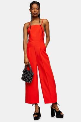 Topshop Red Strap Back Jumpsuit